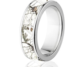 Licensed RealTree AP White Camouflage Titanium Ring, Snow Camo Ring: 7F RT  Snow