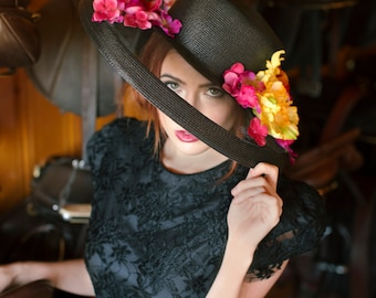 Shaded Vibrance - Kentucky Derby, Polo, Resort, Wedding, Church, Black Sheer Hat with Vibrant Colors