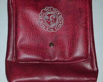 Burgundy Leatherette Bag with Embroidered Celtic Triskellion Design