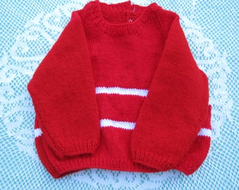 Vintage Gorgeous Red Jumper/Sweater Hand Knitted for a Girl Aged around 1-2  years.