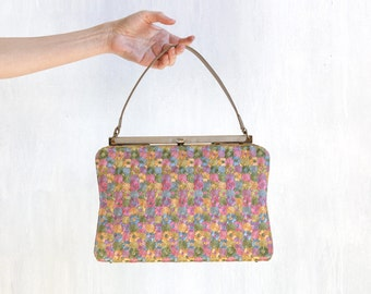 tapestry purse / purse with embroidery effect / tapestry hand bag / floral hand bag / 60s bag / 60s purse / top handle bag / small hand bag
