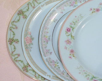 Mismatched China Side Plates Salad Set of Four Floral Roses Scrolls Swags Flowers Gold