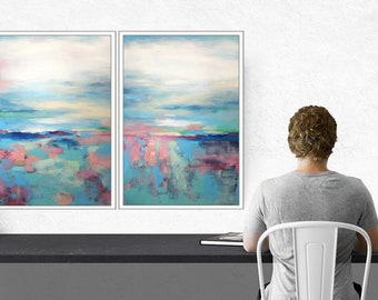 Large Abstract Painting/ Set Of 2 Paintings Original Framed Wall Art Abstract Landscape Paintings On Canvas, Ready To Hang Large Paintings