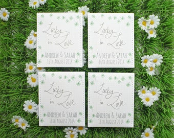 Irish Wedding Favours: Personalised Shamrock Seed Wedding Favors, pack of 10 - Shamrock Favours - Irish Favors