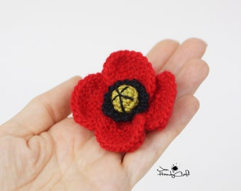 Red Poppy brooch Anzac Day poppy Remembrance day poppy pin Red flower pin Memorial day poppy Veterans day pin Floral brooch Flower jewelry