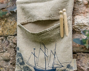 Linen Peg Bag from The Coastal Collection, from Helen Round, HelenRoundDesigns