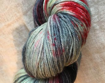 Red, grey, white Hand Dyed 4ply Sock Wool/Nylon Yarn 400 Mtrs  100gms