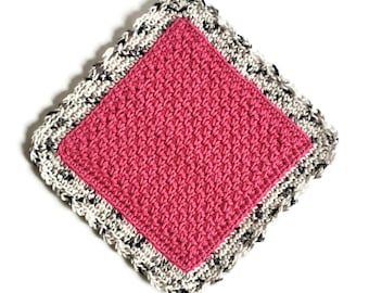 Crochet Dishcloth, Pink Cotton Dish Cloth, Cotton Washcloth, Handmade Wash Cloth
