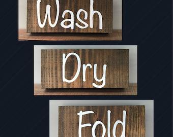 Wash Dry Fold, Laundry Room Decor, Laundry Decor, Laundry Room, Laundry Room Wall Art, Wash, Dry, Fold, Laundry, Rustic, Wood, Solid Wood