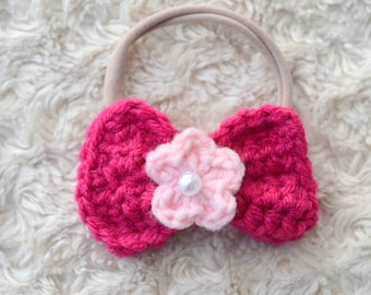 Crochet Bow with Flower in the center Headband or Clip