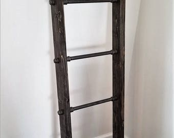 Handmade Rustic Wood and Steel Ladder