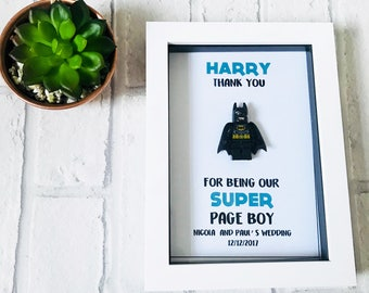 Page Boy Lego Inspired Frame | Page Boy Gifts | Usher Gifts | Ring Bearer Gifts | Wedding Party Gifts |Superhero Gifts |Lego Gift | Best Man