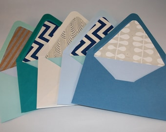 Polished Patterned Blue and Silver Lined Envelopes with Cards, Set of Five, Holiday Party, Shine, Zig Zag, Deco, For Fun, Hanukkah, 8 nights