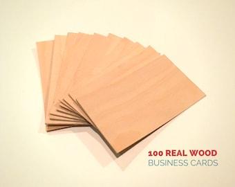 Wood Business Cards - Set of 100 - Blank Wood Cards - Wood Tags - Blank Cards - Birch Veneer - Handmade - Business Cards