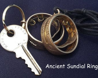 Nautical Sundial Necklace, keychain watch, Solar Calendar Ring for educational game and traveler gift, astronomy jewel in a steampunk clock