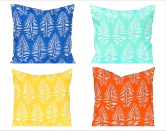 Outdoor Pillow Covers - Palm Leaf - Bright Pillow Covers - Outdoor Cushions in Four Colors - Patio Decor - Pool Decoration - Spring Decor