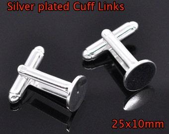 10 silver plated cuff links - 10 mm glue pad - 25x10mm cuff link blank