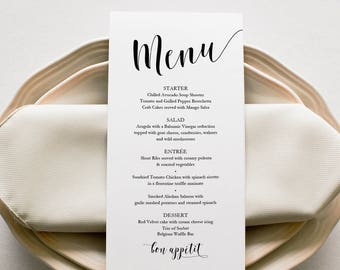 Belle Menu Printable - 4x8 inches - Instant Digital Download - DIY Template - Editable PDF - Belle Collection - 4x8 inches - #GD0106