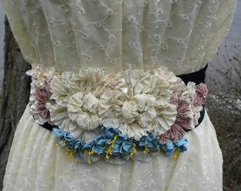 Bride Fantasy Ribbon Flower Ivory Aqua Fuchsias Sash Applique