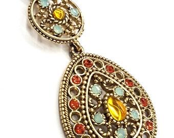 """1 Large Embellished Pendant, Gold Plated Brass, Swarovski Stones, Large Thru Hole, 3"""" Long"""
