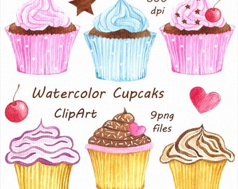 Watercolor Cupcakes Clipart, Cupcake clip art, Watercolor clip art, PNG, Digital Clipart,  Instant Download, For Personal and Commercial Use