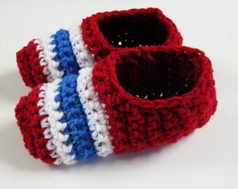 PATRON PDF No 1 Pantoufles crochet Canadiens de Montréal, Habs, enfant, homme, femme, français, anglais, 3petitesmailles, chaussons, adulte
