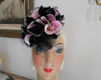 Awesome 1940's Black/Pink Fascinator Tilt Hat with Magnolias