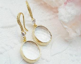 Clear Crystal Earrings Drop - Oval Crystal Earrings Dangle - Modern Bridal Earrings - Clear Glass Earring - Simple Wedding Earrings CZ E2410