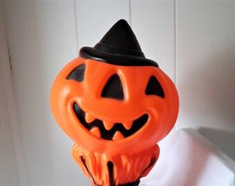 Vintage 1960's Halloween Lamp - Plastic Halloween Decor - Jackolantern Light - Pumpkin Lamp - Blow Mold - Antique Halloween Decor - Empire
