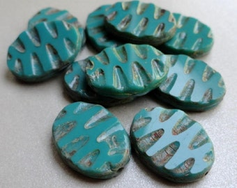 19x13mm Turquoise Carved Flat Ovals Premium Czech Glass Beads