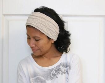 Wide Headbands For Women, Beige Wide Headband, Stretchy Headband, Wide Yoga Headband, Workout Headband, Boho Headband, Bohemian Headwrap