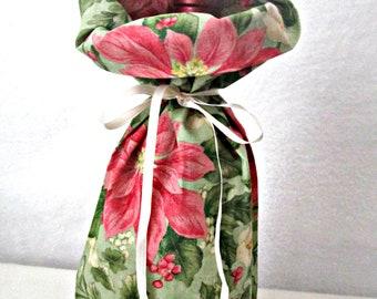 Wine Bottle Gift Bag, Poinsettia Bag, Christmas Gift Bag