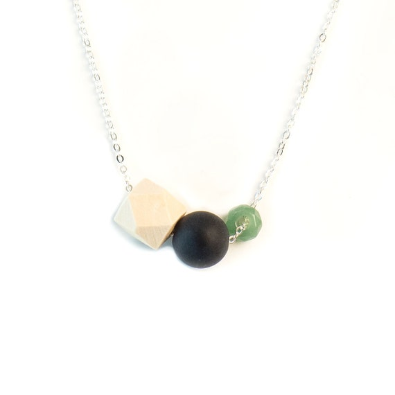 MEREDITH Gemstone, Black Agate & Wood Diffuser Necklace (Silver)