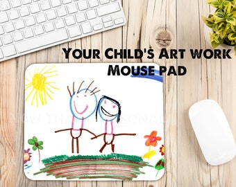MOTHER'S DAY GIFT, child's artwork, mouse pad, Custom mouse pad, personalized mouse pad, Computer mouse pad, child's drawing, gift for mom