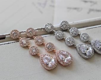 Rose Gold  Art Deco Earrings , Vintage Style Crystal  Earrings, Bridal Earrings, Wedding Earrings, Crystal Drop Earrings, Zircon  Earrings