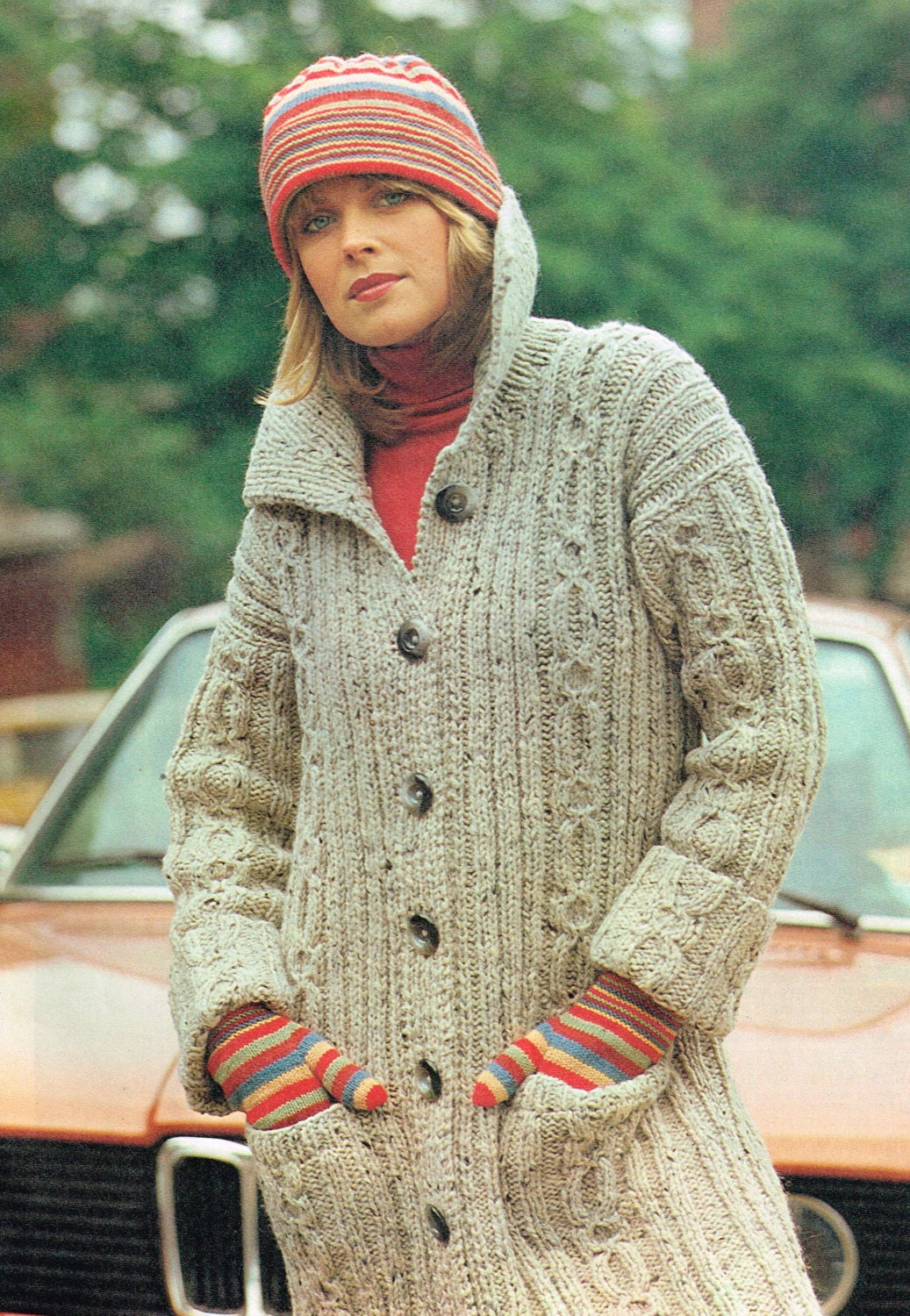Vintage Knitting Patterns for Women - Cable Knit Sweater Coat ...