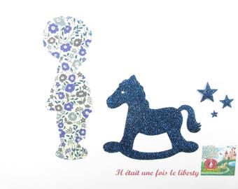 Applique liberty rocking horse and boy seconds Fairford fabric & blue glitter patch iron horse fusible pattern