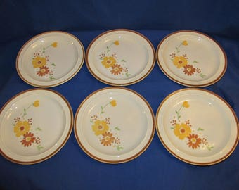 HOMER LAUGHLIN STONEWARE Dinner Plates 70s Set of 6 Yellow Brown Green Flowers