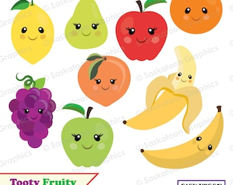 Popular Fruit Clipart Set - Instant Download File - Digital Graphics - Cute - Crafts, Web, Parties - Commercial & Personal Use - #Y008