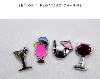 Drinking Floating Charms for Locket, 21st Birthday Gift, Wine Gift for Her, Pink Beach Jewelry, Floating Charms for Summer, Drinking Jewelry