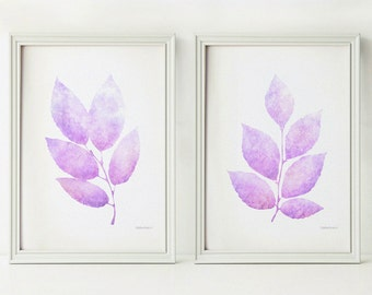 Lavender leaves print set, Light purple Printable nursery decor, Pastel art prints 5x7 Nursery prints Lilac purple art Pastel wall print art