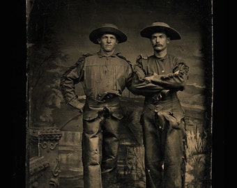 Antique Western Tintype Photo / Armed Cowboys - One with Rare Flobert Pistol