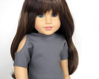 Fits Like American Girl Doll Clothes.  Grey Cold Shoulder Top for 18 Inch Dolls.