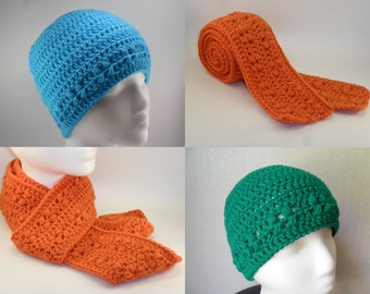Kylie Hat and Scarf Set - Digital Download PDF Pattern - Beanie Beenie Cloche Cap Long Skinng Scarf