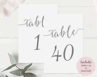 Printable Gray Table Number cards - Set of 40 - Instant Download - Editable PDF - Wedding - Minimalist - Charcoal Gray - 4x6 inches -#GD1006