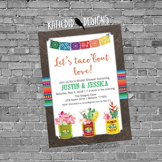Fiesta Invitation couples shower bridal taco love day dead flowers cinco de mayo stock the bar I do BBQ engagement party | 305b Katiedid