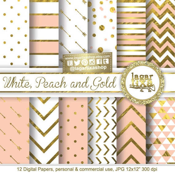Gold Pale Pink Peach Vintage Rose Digital Paper Background Chevron Polkadots Arrows Triangles Scrapbooking Blog Invitations Cards From LagartixaShop