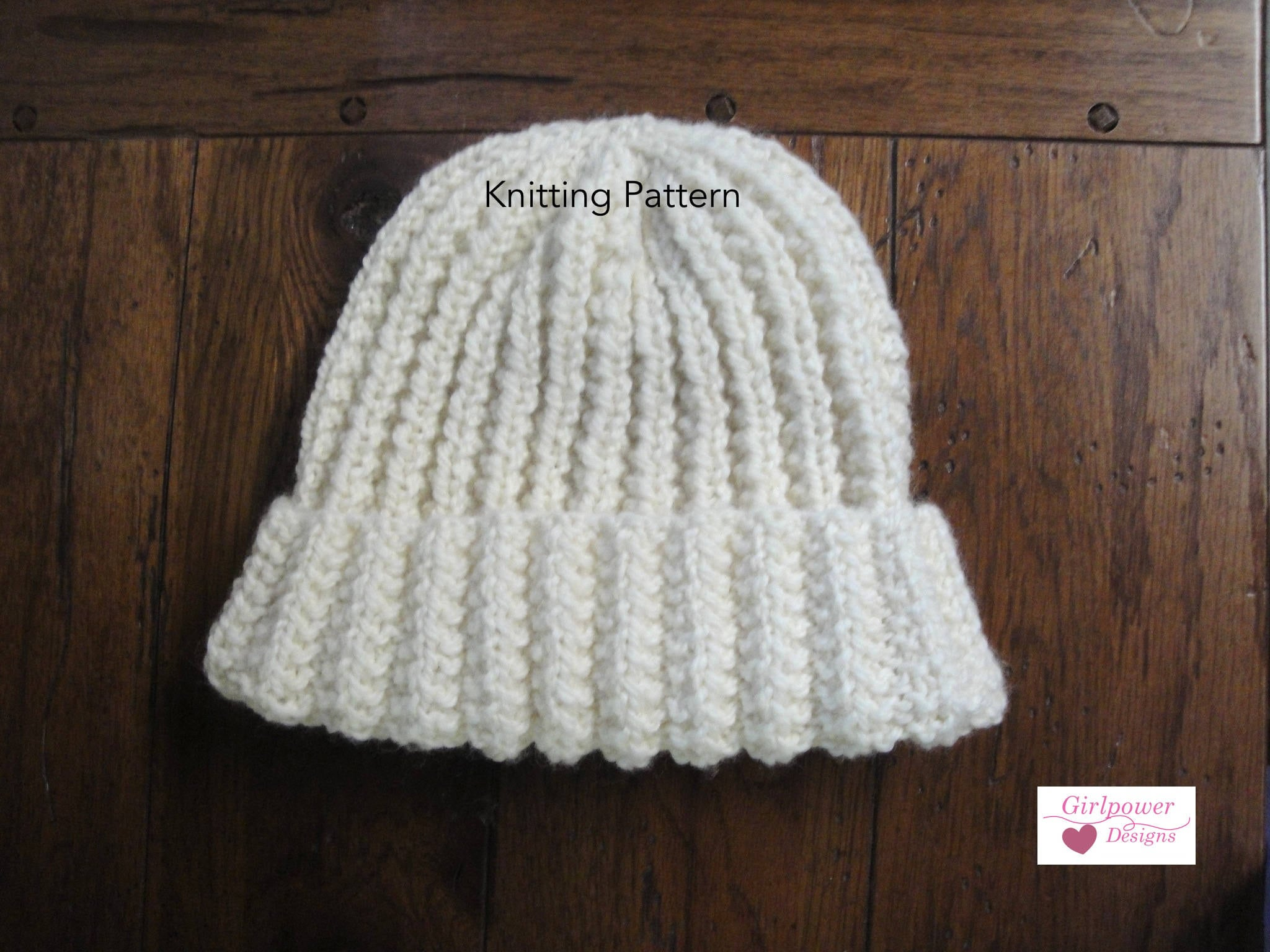 Easy Knitting Pattern Ribbed Hat Beanie Kids Women Men
