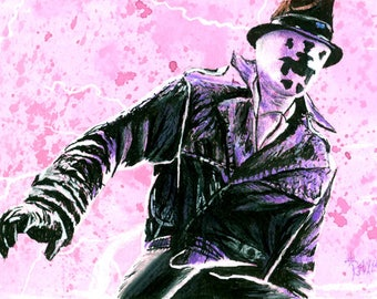 Rorshach Artist Trading Card Ink Wash drawing Watchmen