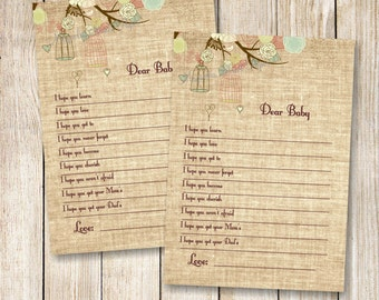 Baby Well Wishes, Burlap Baby Shower Well Wishes for the Baby, Baby Shower Games, Rustic Baby Shower, Boy or Girl Baby, Instant Download